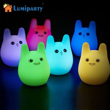 Lumiparty Color Changing LED Night Light USB Charging Touch Induction Silicone NightLight Lamp Creative Gift