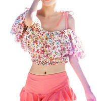 Pink Sweet Charming Tankini with Floral Crop Top
