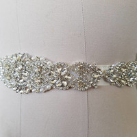 Wedding Belt, Bridal Belt, Sash Belt, Crystal Rhinestone & Off White Pearls  - Style B200599C