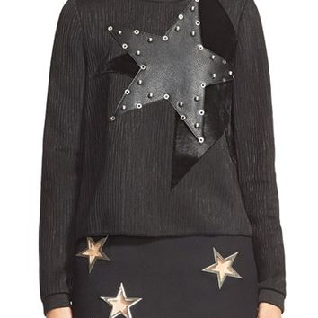 Women's Anthony Vaccarello Eyelet Detail Star Applique Sweatshirt,