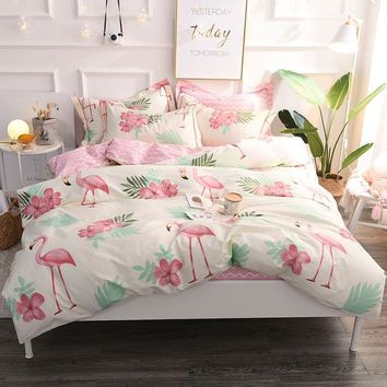 Cool 2018 Flamingo Printing Bedding Set 100% Cotton Duvet Cover Flat Sheet Pillowcase Comforter Bed Set Twin Full Queen King SizeAT_93_12