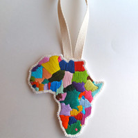 Africa embroidered wall hanging on cream muslin with cream felt backing and long cream canvas loop MADE TO ORDER textile art