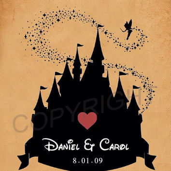 Custom Wedding Disney Castle Silhouette Name and Date Art Print