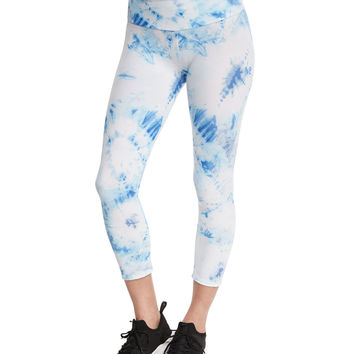 Tie-Dye Printed Capri Sport Leggings, Igloo