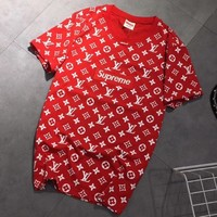 LV Louis Vuitton X Supreme Popular Women Men Casual Letter Embroidery Round Collar Short Sleeve T-Shirt Top Blouse Red