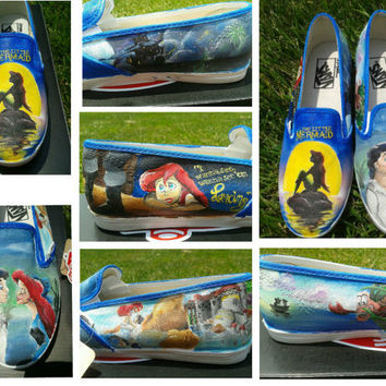 "Custom Hand Painted ""The LIttle Mermaid"" Shoes"
