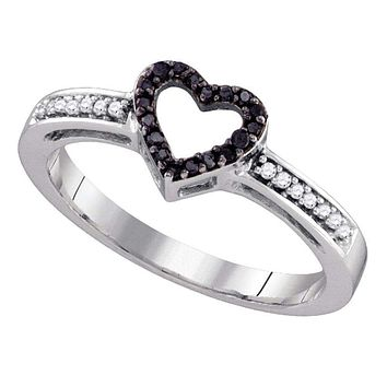 10kt White Gold Women's Round Black Color Enhanced Diamond Simple Heart Ring 1/8 Cttw - FREE Shipping (US/CAN)