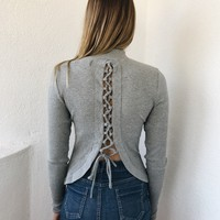 LORI TIED BACK RIBBED TOP- GREY