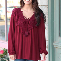 Lace Crochet Applique + Tassel Tie Boho Blouse {Burgundy}