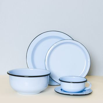 5-Piece Enamel Dining Set - Cornflower