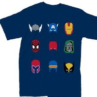 Marvel Comics Characters Simple Helmets Adult Navy T-Shirt