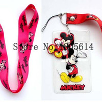 20 pcs mix  Mickey  Minnie Lanyard High Quality  Cartoon Lovely Cute Lanyard ID badge holder key neck strap for free shipping