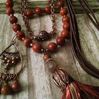 Long Necklace Boho Layered Tassel and Earrings Set Rust Orange Copper and Brown Leather