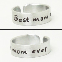 Best mom ever ring - Gift for Mom - Mother's Day gift - Mother birthday gift birthday present - Best mom ever jewelry