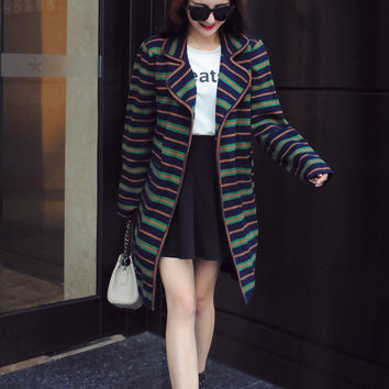 Knit Tops Ladies Stripes Jacket [8422524865]