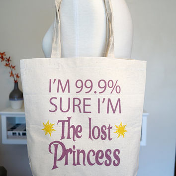 tangled tote bag, rapunzel, lost princess, 99.9 percent princess, floating lanterns, disney tote bag, disney, tangled