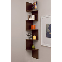 Large Laminated Walnut Veneer Corner Wall Mount Shelf By Benzara
