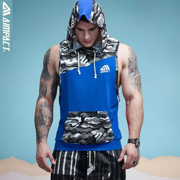 Aimpact Men's Camouflage Patchwork Tank Top Sleeveless Hoodie Crossfit Bodybuilding Cotton Fitness Muscle Tshirt Male 2AM1010