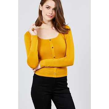 Women's Casual Fashion Long Sleeve Scoop Neck Front Button Detail Rib Knit Top
