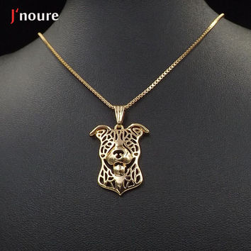 2016 Pitbull 18K gold  Plating For Pet Lovers Dog Animal Charms necklace&pendant Gift For Women A176G