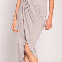 High-Slit Draped Midi Skirt in Gray