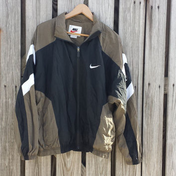 Vintage Mens Nike Windbreaker Jacket Full Zip Black and Tan - SZ L