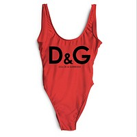 D&G DOLCE & GABBANA SWIMMER SWIM TAN TOP VEST SHIRT V NECK WOMEN LETTERS BOTTOMING CLOTHES
