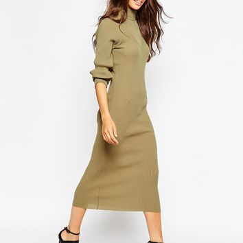 Daisy Street Ribbed Roll Neck Midi Dress