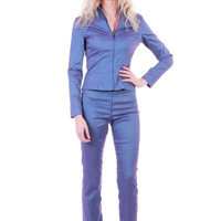 90s Vintage Metallic Jessica McClintock Matching Outfit 2 Piece Set Jacket and High Waist Skinny Pants Purple y2K Clothing Size XS