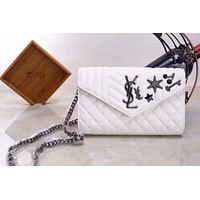 YSL SAINT LAURENT LEATHER ENVELOPE BAG CHAIN SHOULDER BAG