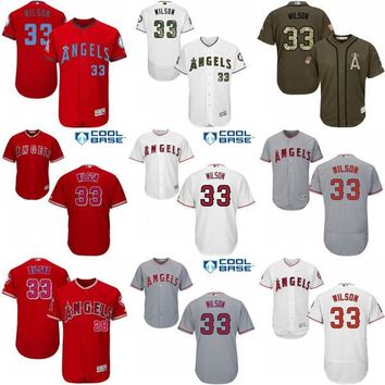 2017 Los Angeles Angels of Anaheim Jerseys 33 CJ Wilson MLB Baseball Jersey Flexbase Cool Base Red Grey White stitched