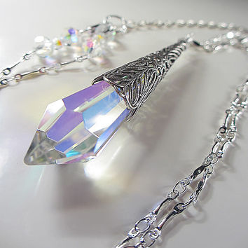 Swarovski Clear Crystal Necklace Clear AB Swarovski Crystal Drop Pendant  Victorian Filigree Blend Of Rainbow Colors a6ca42ad52