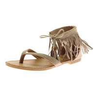 Anna Womens Ruffle 7 Suede Fringe Flat Sandals