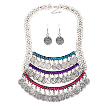 Silver Faux Crystal Coins Necklace and Earrings
