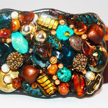 Turquoise and Brown Belt Buckle - Western Belt Buckle
