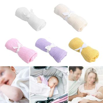 Celluar Cotton Summer Thermal Receiving Baby Throw Nursery Blanket Newborn Knitted Swaddling Wrap Nap Blankets T30