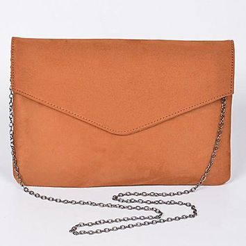 Suede Envelope Shoulder Clutch