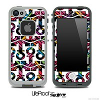 White and Abstract Color Chevron Anchor Collage Skin for the iPhone 5 or 4/4s LifeProof Case