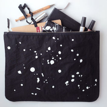 COSMOS// Oversized clutch// Zipper clutch// Hand printed constellation