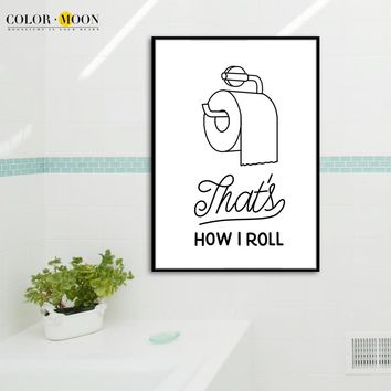 COLORMOON Minimalism Toilet Paper Wall Art Print Canvas Painting Modern Poster Black White Wall Pictures For Bathroom Home Decor