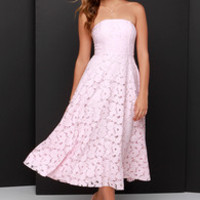 BB Dakota Alva Light Pink Strapless Lace Midi Dress