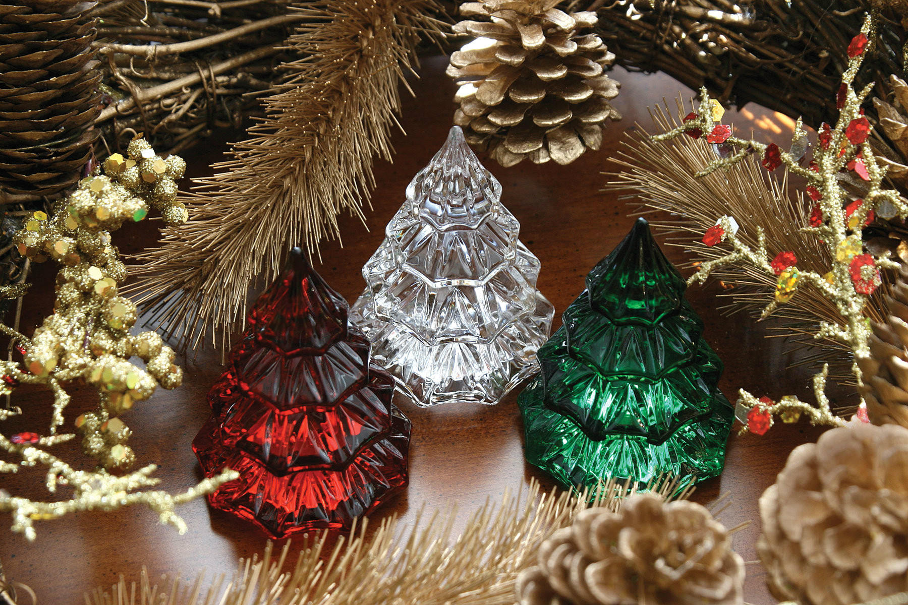Miniature crystal ornaments - Waterford Crystal Mini Christmas Tree Red Clear Miniature Tabletop Ornament
