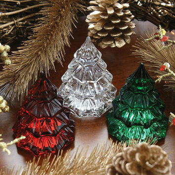 Waterford Crystal Mini Christmas Tree Red Clear Miniature Tabletop Ornament