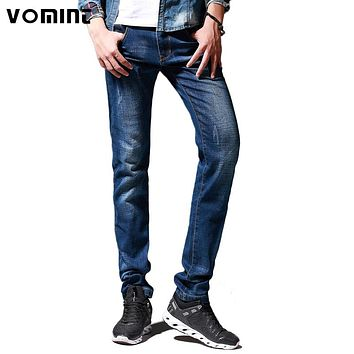 New Men Jeans Cotton Stretch Skinny Slim Washed Pants Elasticity Fashion Straight