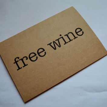 FREE WINE BRIDESMAID funny card will you be my bridesmaid card will you be my maid of honor free wine kraft cards funny bridal cards wine