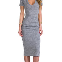 Monrow Shirred Tee Dress in Gray