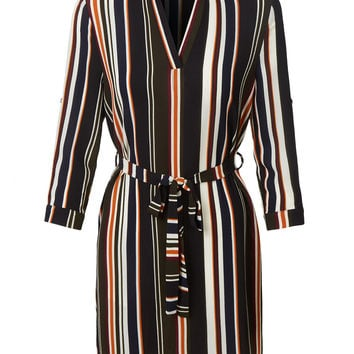 LE3NO Womens Lightweight Flowy 3/4 Sleeve Striped Dress with Belt