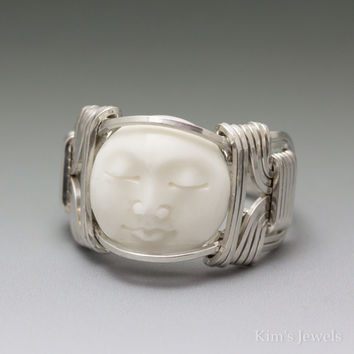 Carved Bone (bovine) Moon Face Cameo Sterling Silver Wire Wrapped Ring
