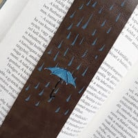 Stephen King bookmark, Leather quote bookmark,  Blue umbrella bookmark, Mr Mercedes bookmark, Upcycled leather bookmark