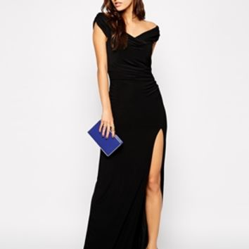 Jessica Wright Sarah Off Shoulder Maxi Dress with Thigh Split